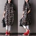 New -- 2016 mulheres new arriaval outono camisa impressão de Camuflagem com capuz vestuário plus size longo-luva trench