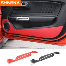 SHINEKA Car Styling High Quality Car Door Anti-kick Sticker Carbon Fibre Anti-dirty Door Sticker for Ford Mustang 2015+