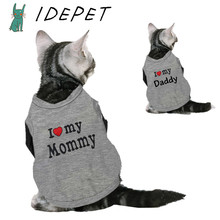 Love Cat Clothes Cotton Pet T Shirts Clothing For Cats Kittens Vest Small Dog Clothes Mommy Daddy Vest Gatos Pet Clothing 35S1