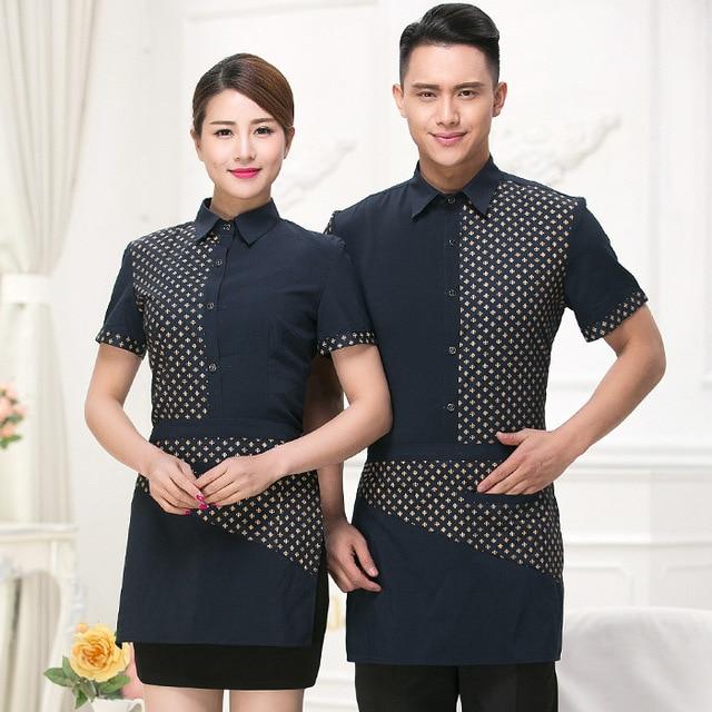 fa2fa1d793a Summer Waitress Workwear Women Men Hotel Restaurant Waiter Uniforms Short  Sleeve Fast Food Waiter Uniform Suit Top+Apron