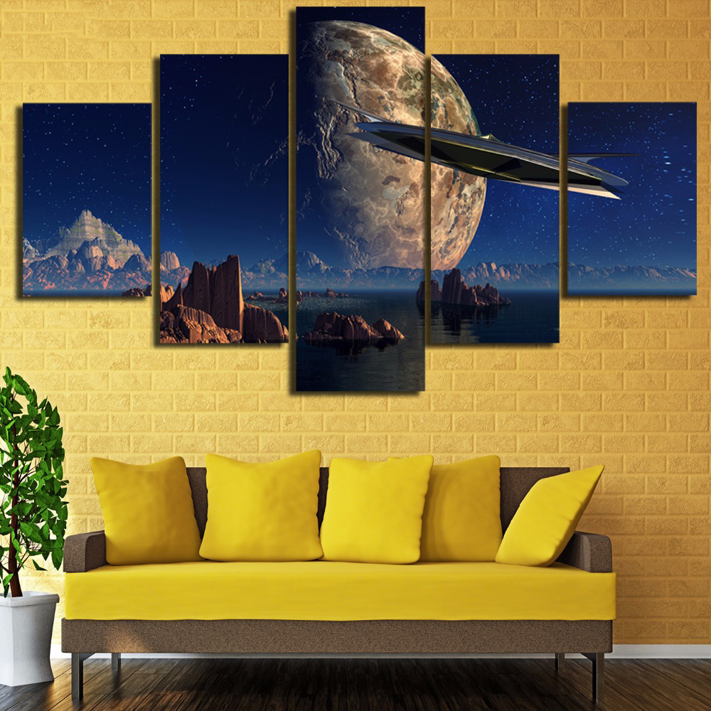Wall Picture Print Painting Modular Poster 5 Panel Planet Canvas ...