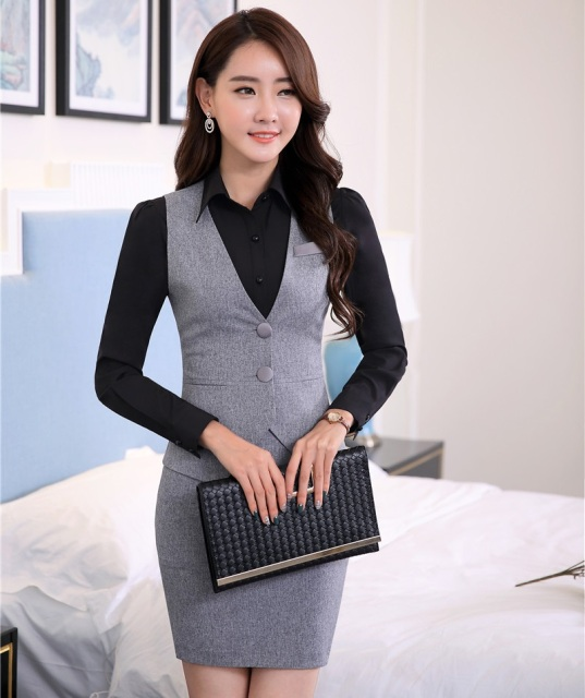 0563688e157 Novelty Fashion Formal Uniform Styles Professional 2015 Spring Summer  Business Suits Vest + Skirt OL Blazers Women Outfits Sets