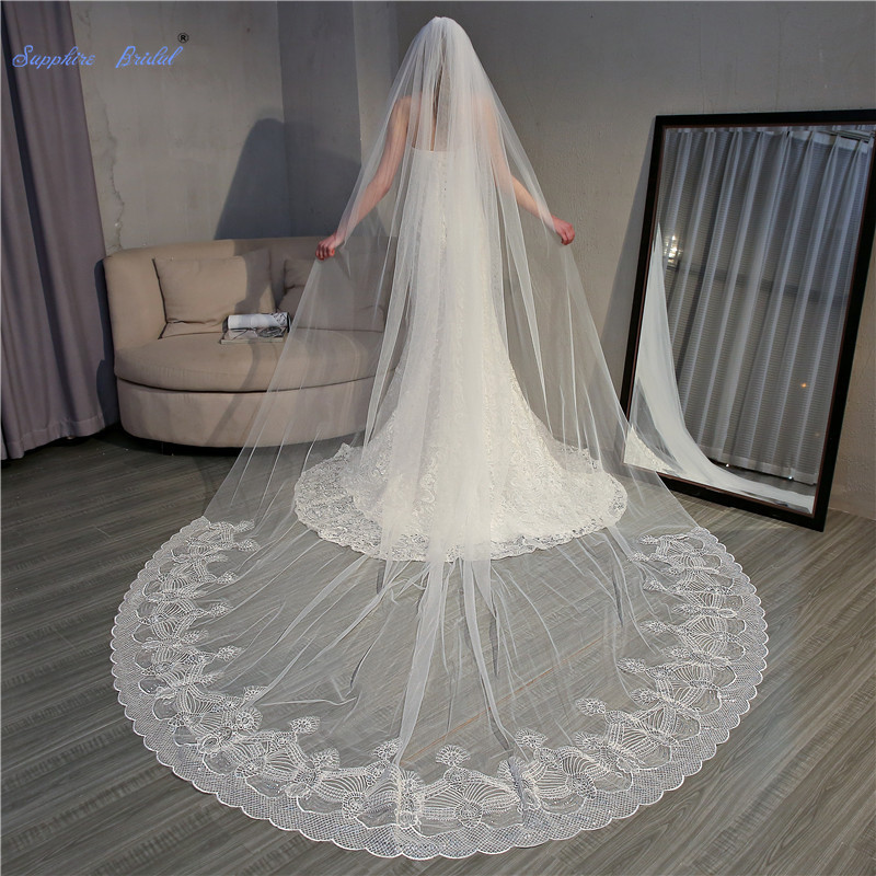 Sapphire Bridal Top Quality Sequin Lace Edge Ivory Wedding Veil 1 layer 3.5m New Bridal Veil Long with Comb Bridal Accessories