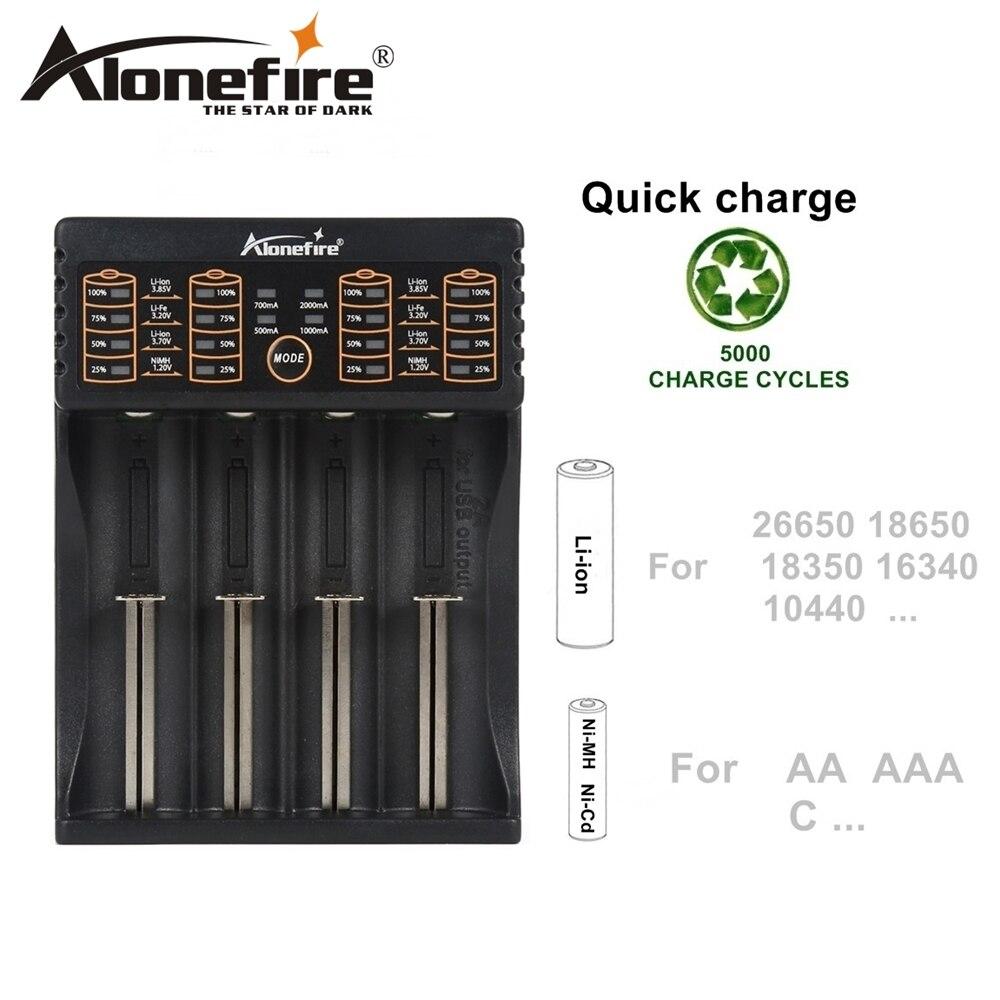 Alonefire MC104 cargador USB 1.2 V 3.7 V 3.2 V 3.85 V AA/AAA 18650 26650 14500 16340 antorcha niCad NiMH batería de litio cargador inteligente