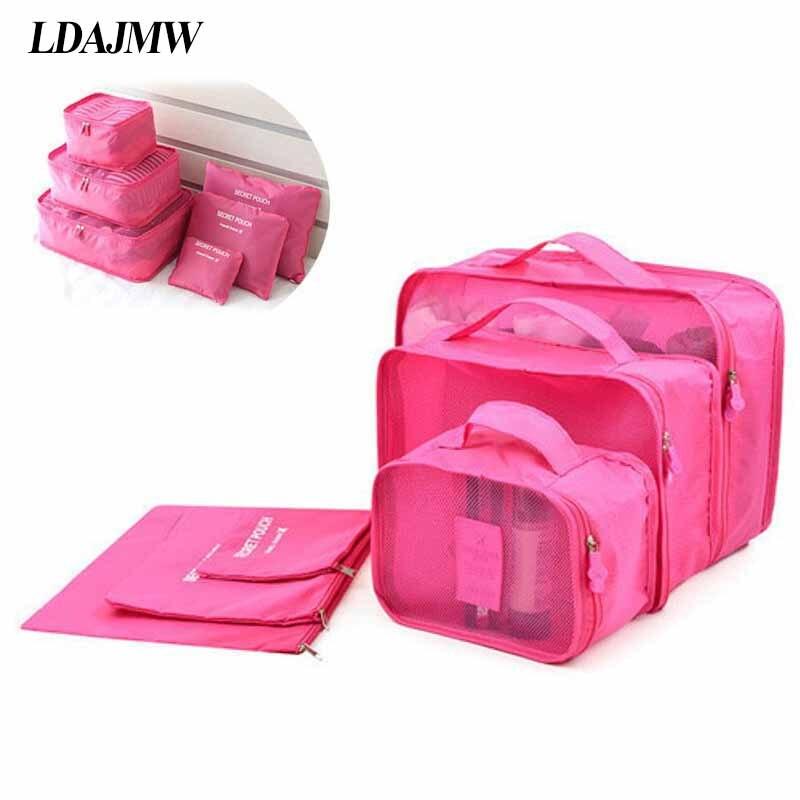 LDAJMW caliente 6 unids/set de viaje ropa ordenado bolsa de almacenamiento de la caja de la maleta de equipaje bolsa de cremallera sujetador cosméticos ropa interior organizador