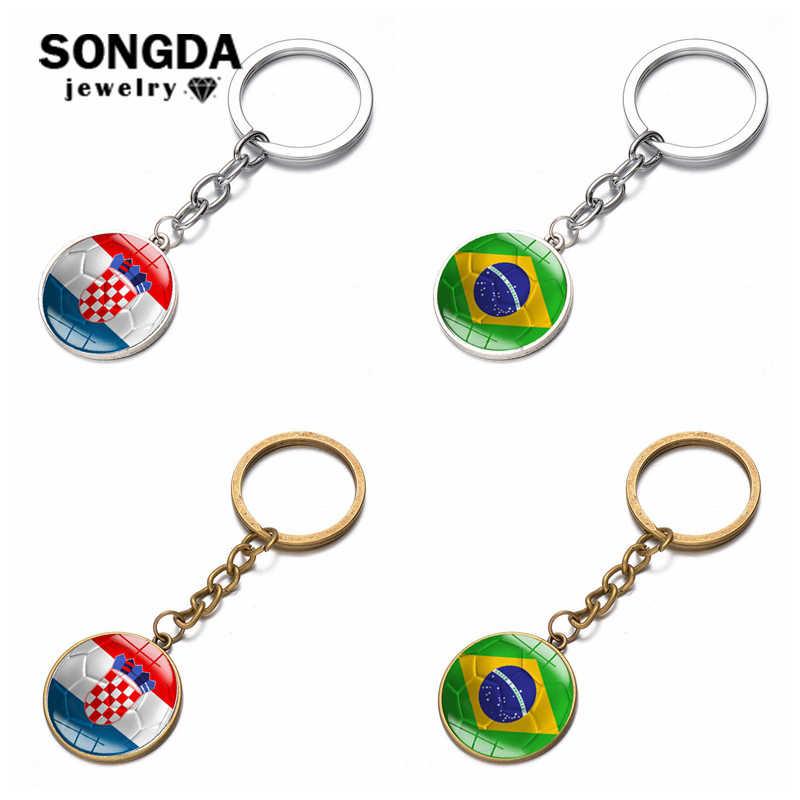 d3732716cab Detail Feedback Questions about SONGDA New World Flag Football Keychain  National Brazil Croatia Flag Key Chain Handmade Round Photo Glass Cabochon  Car Key ...