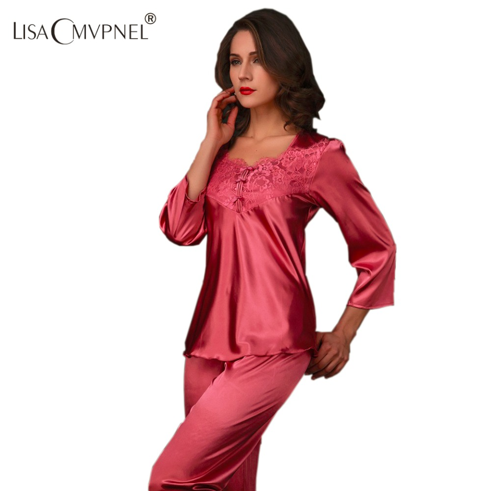 Lisacmvpnel 2015 new fashion rayon silk Square Collar women's   pajama     set   long sleeve lace sexy sleepwear