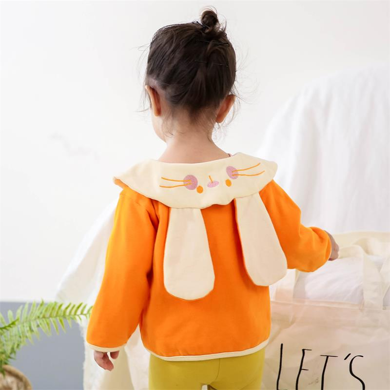 Famuka Autumn Baby Girls Coat Cotton Long Sleeve Tops Toddler Cute Rabbit Ear Lapel Casual Outerwear for Newborn Girl Clothing(China)
