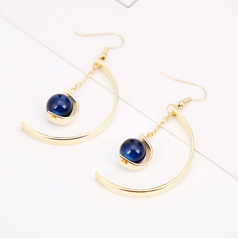 Short Chain Blue Stone Ball Pendant Semicircle Golden Ear Clip & Hook Dangle Earrings Drop Earrings for Women