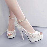 RUIDENG Women Super High Heel Wedding Pumps 12cm Peep Toe Sweet Sexy Party Shoes Lady Lace