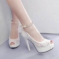 RUIDENG women super high heel wedding pumps 12cm peep toe sweet sexy party shoes lady lace platform 4cm thin heels