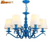HGHomeart LED Fashion Blue Chandelier Lustre Design Iron Lamp Bedroom Lights Restaurant Living Room Lighting Suspension E14