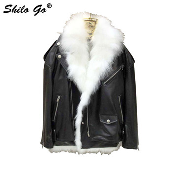 SHILO GO Fur Jacket Womens Winter  Fashion laple whole real Fox Fur lining fur coat sheepskin genuine leather locomotive jacket Косуха