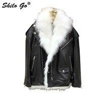 Fur Jacket Womens Winter Fashion laple whole real Fox Fur lining fur coat sheepskin genuine leather locomotive jacket