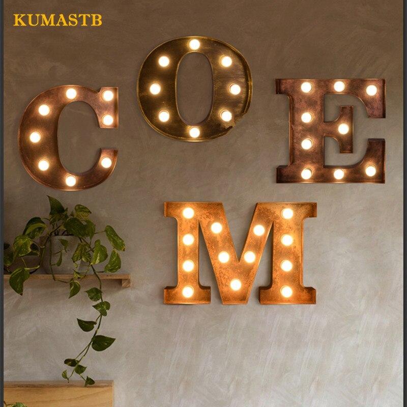 Лофт Винтаж металлические буквы Огни Творческий Алфавит бра железа щит настенный Luminaria промышленного бар логотип arandela kumastb