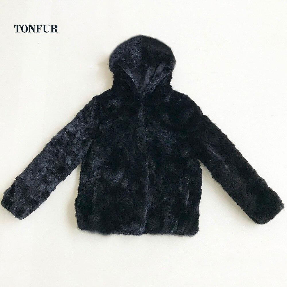 2019 New TONFUR Brand Genuine Mink Fur Coat For Women Luxury Natural Mink Fur Jacket With Hood And Lining Sr434