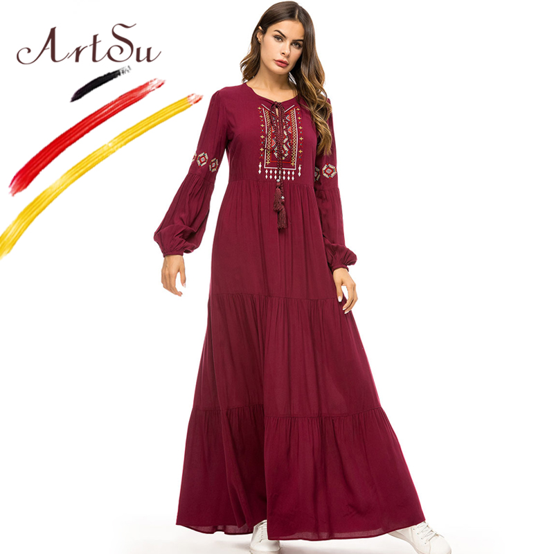 ArtSu 2018 Retro Ethnic Robe Femme Burgundy Women Long Sleeve Geometric Embroidery Autumn Maxi Dress Plus Size Pleated Vestido