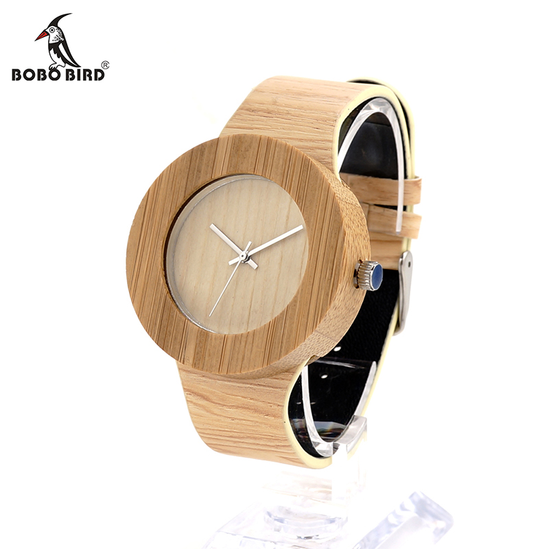 BOBO BIRD Cylinder Bamboo Wooden Wristwatch Mens Round Wood Design Japan 2035 Movement Quartz Watch with PU strap in Gift Box  bobo bird f08 mens ebony wood watch japan movement 2035 quartz wristwatch with leather strap in gift box free shipping