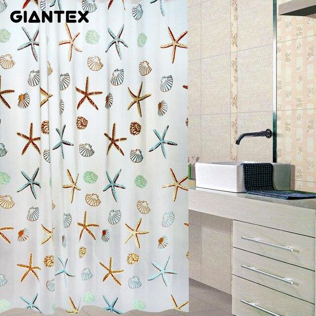 GIANTEX Starfish Pattern PEVA Bathroom Waterproof Shower Curtains With 12  Plastic Hooks U0977