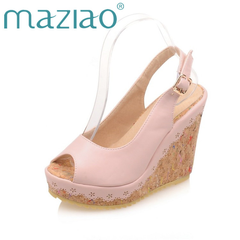 3cc3107218b MAZIAO Shoes Fashion Women Sandals Summer Peep Toe Ankle Strap Platform  Wedges Female Bordered White Blue Beige Shoes Size 33-43