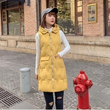 Fashion styled Winter long vest big pocket hooded thick warm waistcoat Casual winter sleeveless parkas jacket cotton paded coat