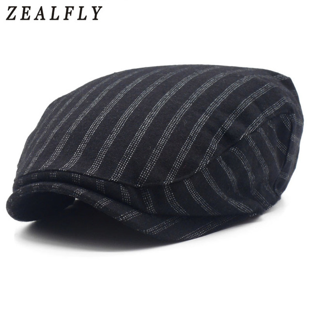 45040c1e18a Fashion Striped Berets Caps For Men Autumn And Winter Wool Beret Hats Women  High Quality Casual Flat Caps Unisex Female Beret