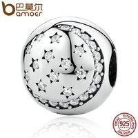 BAMOER 100 925 Sterling Silver Twinkling Night Clip Little STARS Clear CZ Charms Fit Bracelet DIY