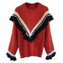 Amolapha женский V-shape полосатый свитер с оборками Топы длинный рукав женщины вязание свитера джемперы