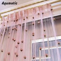 Custom Curtain Feng Shui Elegant Cloth Art Line Partition Curtain Romantic Hang Shade Tassel Roses Pervious
