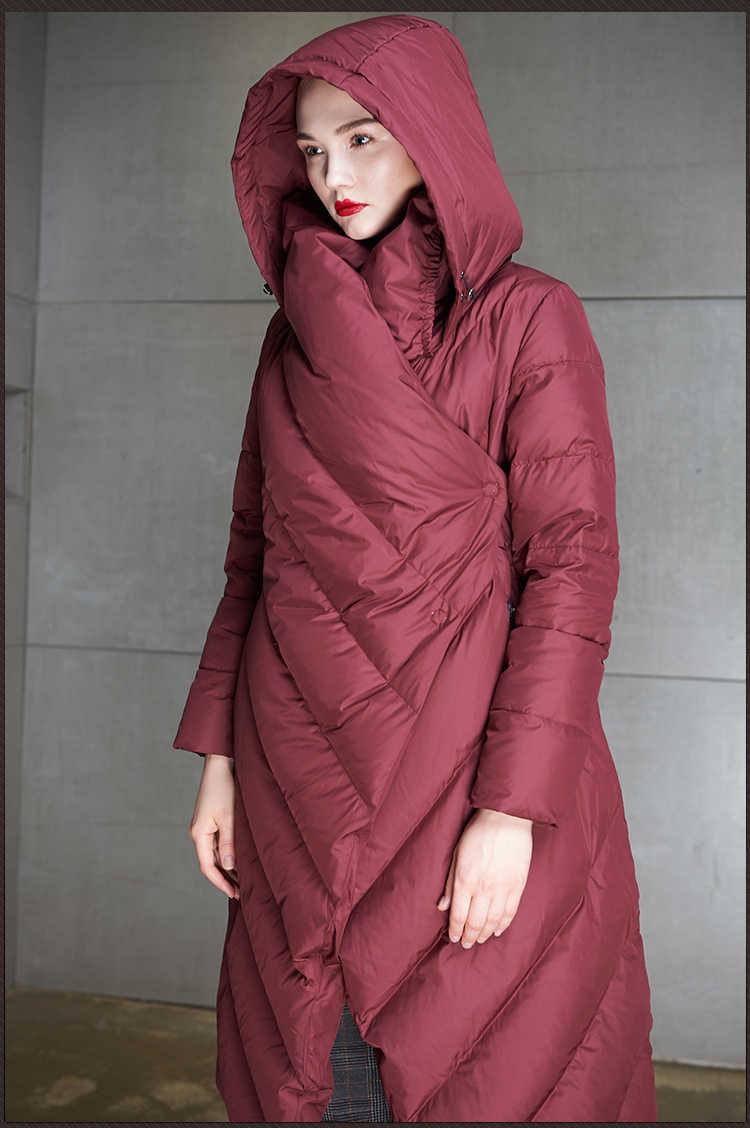 Eva freedom, высокое качество, 2018, зимняя новая коллекция, женский длинный пуховик с капюшоном, женский зимний теплый плотный пуховик