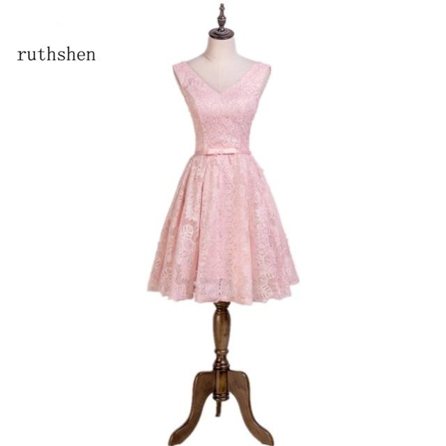 Ruthshen Light Pink Short Prom Dresses 2018 V Neck Cheap Formal