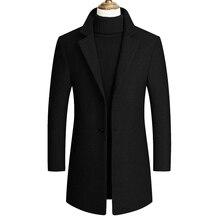 Новинка осени, повседневное длинное однобортное черное СЕРОЕ ЗИМНЕЕ длинное пальто для мужчин