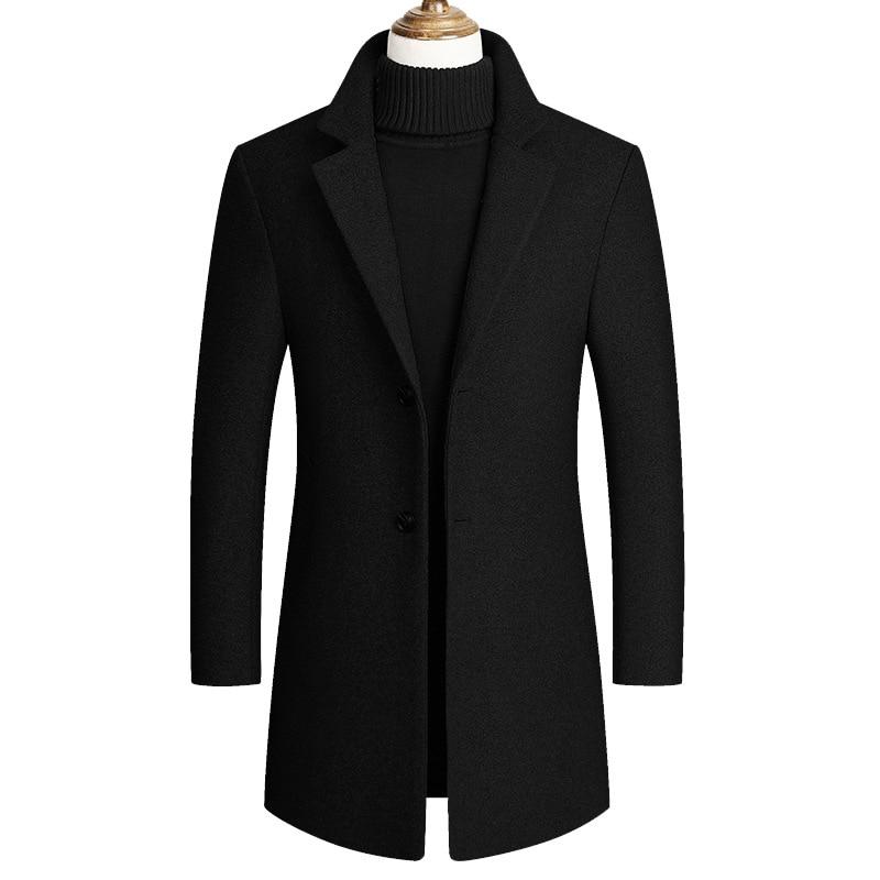 2019 automne nouveau décontracté Long Erkek Mont Kaban unique boutonnage noir gris couleur hiver Long manteau hommes