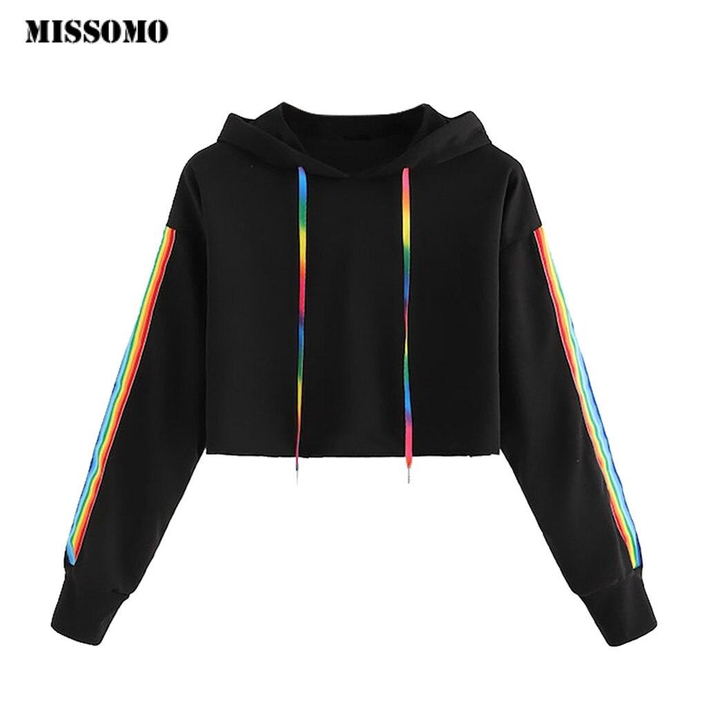 MISSOMO Sweatshirts Women Solid Lace Up Drawstring Long Sleeve Hoodie Sweatshirt Pullover Tops Causal Oversized Hoodie Women 724