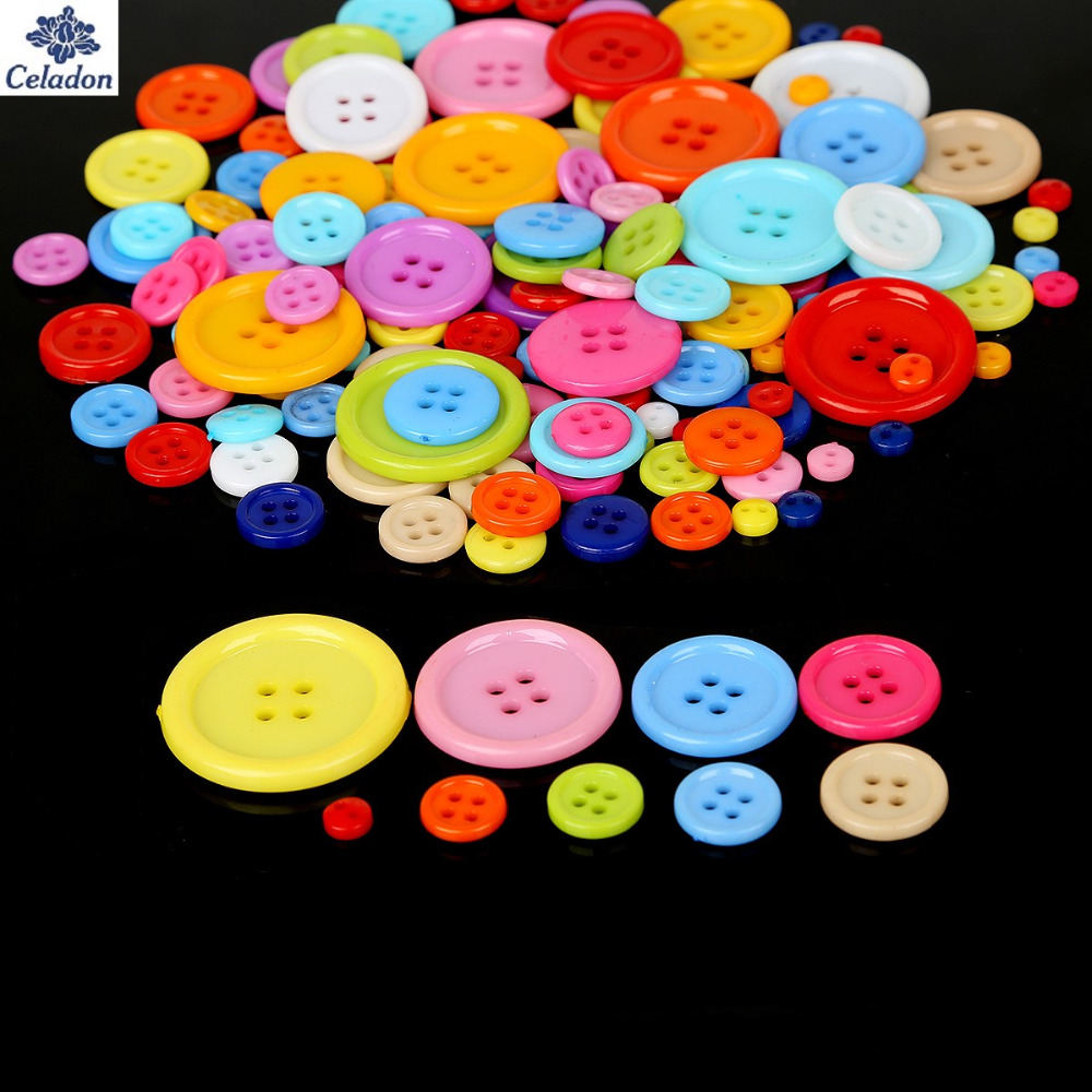 Arts,crafts & Sewing 20-200pcs Multi Size 4 Holes Buttons Random Mixed Round Resin Sewing Buttons For Scrapbooking Craft Fashion Accessories Elegant And Sturdy Package