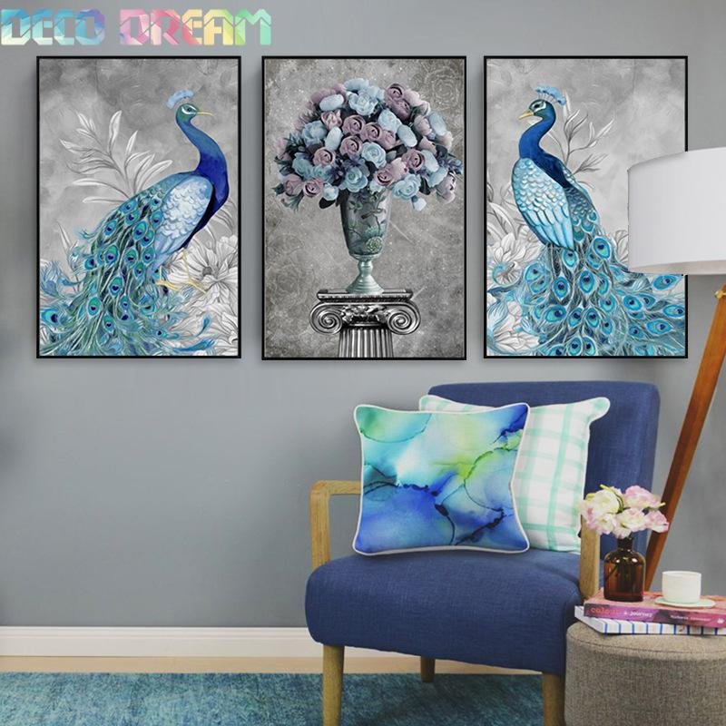 Diy Full Resin Round Diamond Painting Rhinestones Embroidery Kit Peacock And Flowers Nordic Style Mosaic Decor As A Hobby Gift in Diamond Painting Cross Stitch from Home Garden