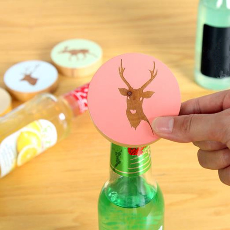 Elk Shape Engraved Wood Opener Creative Cartoon Wood Beer