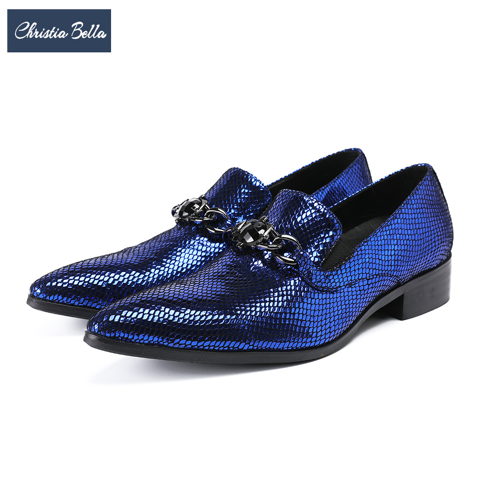 Christia Bella luxury party wedding men shoes Blue italian genuine leather formal shoes slip on men Business dress shoes elegant women lace patchwork half sleeve t shirt mini dress
