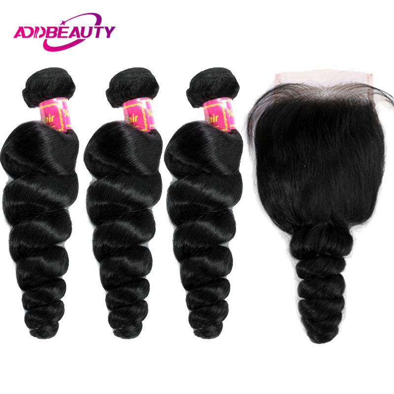 Human Hair Bundles With Closure 4x4 Swiss Lace 3 Pcs Brazilian Loose Wave Remy Hair Weave Free Part For Black Woman AddBeauty