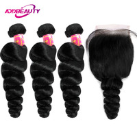 Human Hair Bundles With Closure 4x4 Swiss Lace 3 Pcs Brazilian Loose Wave Remy Hair Weave Free Part For Black Woman AddBeauty