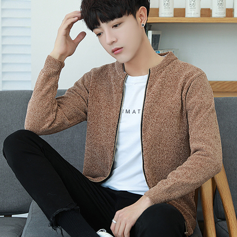 2019 Spring New Solid Color Sweater Youth Casual Men Slim Cardigan Sweater