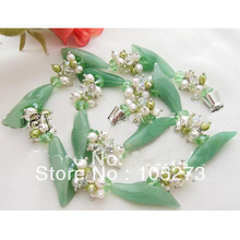 New Free Shipping Jade Flower Jewelry 4-30MM Natural Pearl Crystal Beads Green Jade Flower Necklace 18'' Handmade Top Quality new free shipping flower jewelry natural 4 10mm black freshwater pearl embellished sunflower floral pin brooch top quality