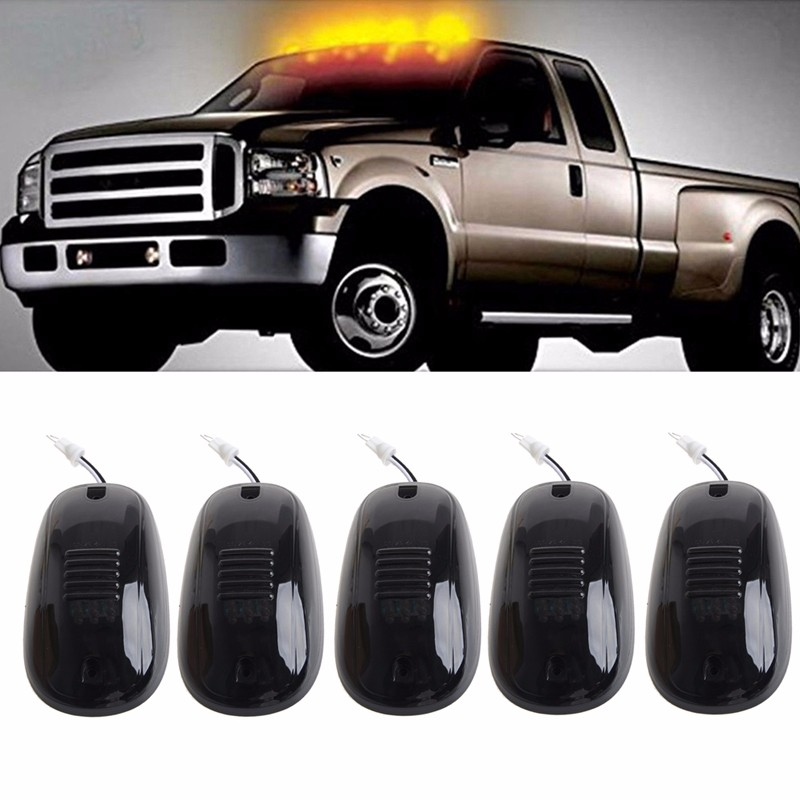 5pcs/set Amber 9-LED Car Cab Roof Marker Lights For Truck SUV LED DC 12V Black Smoked Lens Lamp Car External Lights