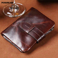 PERDREAM Oil Wax Genuine Leather Wallet for Man Vintage Soft Hasp Clutch Bag Casual Card Coin Pocket Retro 2 Fold Purse