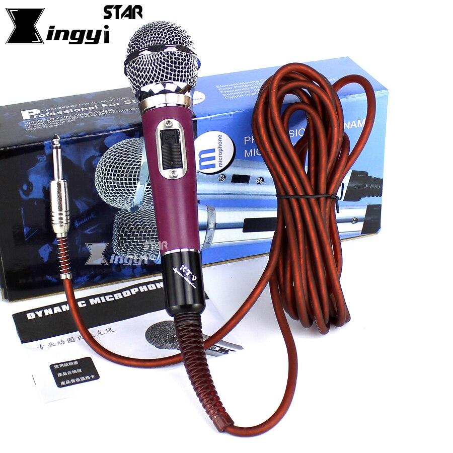 Metall Professionelle Handheld Gesangs Dynamisches Mikrofon Mike Verdrahtet Karaoke-mikrofon für PC KTV Singen Mit 5 mt 6,5mm Jack Audio kabel