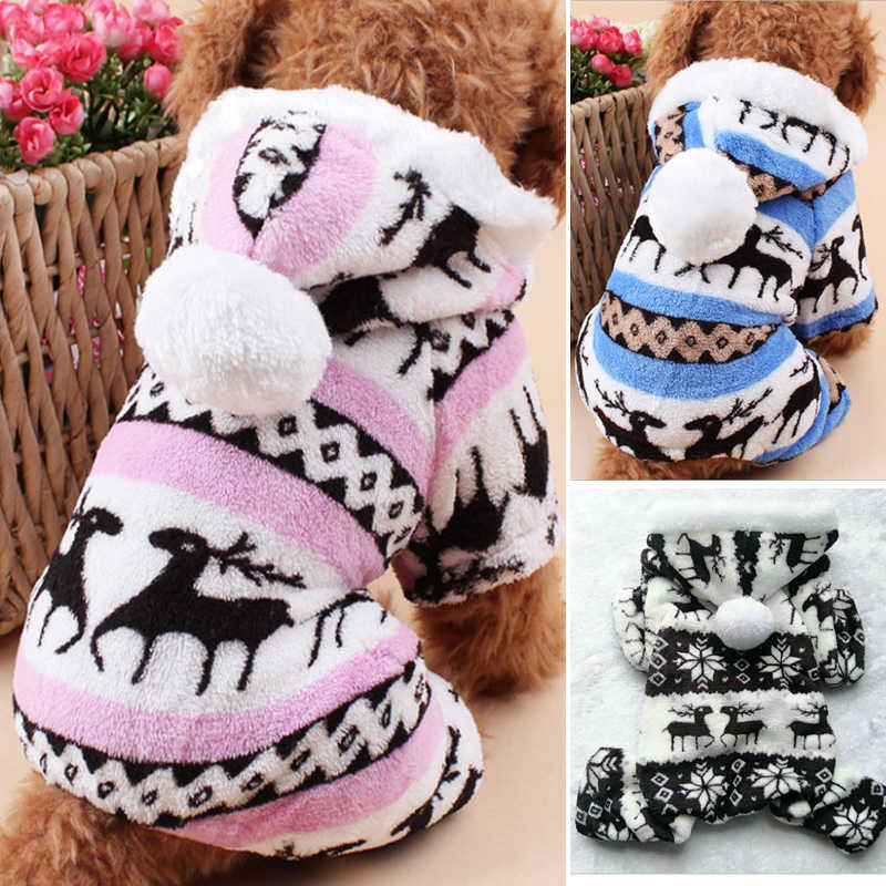 Pet Dog Dress Pattern Coral Velvet Deer Christmas Puppy Clothes Autumn And Winter Snowflake Soft Fleece Chihuahua Dogs Clothes