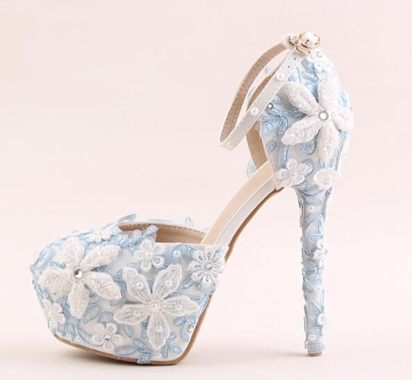 ФОТО Newest sky blue lace flower high heel shoes round toe platform pumps super high ankle strap wedding heels 2017 woman dress shoes
