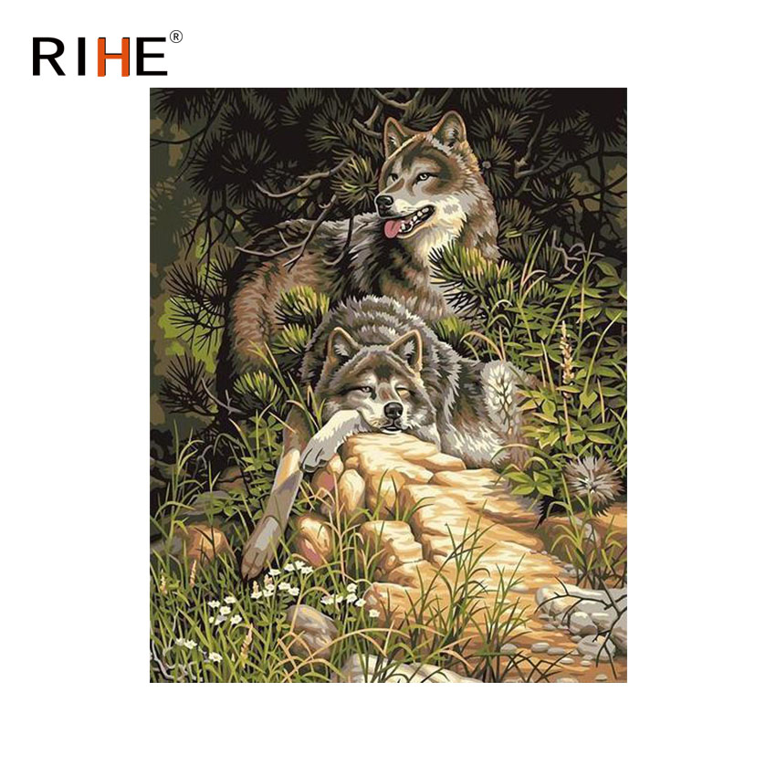 RIHE Wolf Family Diy Painting By Numbers Animal Oil On Canvas Hand Painted Cuadros Decoracion Acrylic Paint Home Decor