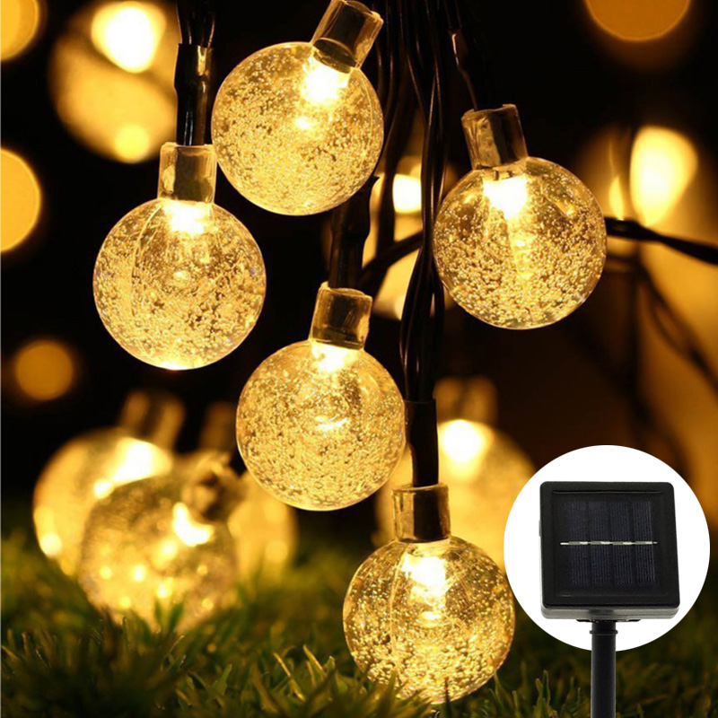 7m Solar powered Led String Light 30LEDs Crystal globe Bubble Fairy Strand ball lamp Waterproof Christmas Wedding Garden Bar
