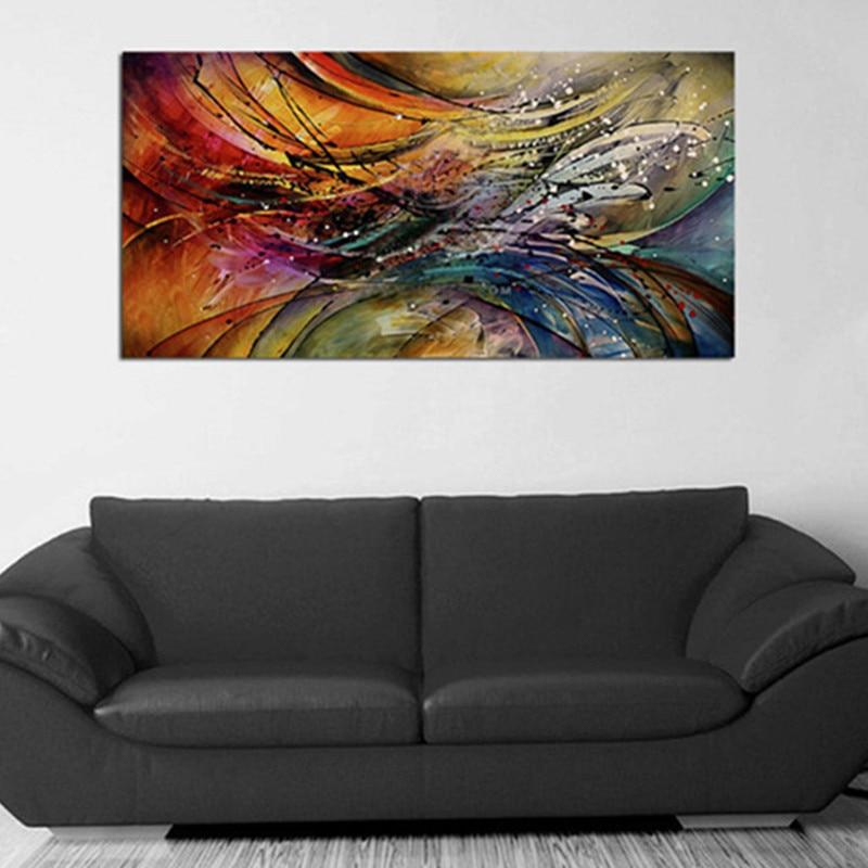 大カラフルな美しいライン Cuadros 手抽象油彩画現代ホームインテリアウォールアート写真  グループ上の ホーム&ガーデン からの 絵画 & 書道 の中 1